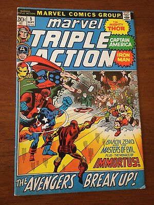 Marvel Triple Action # 5 Fine Marvel Comics 1972 Avengers # 10