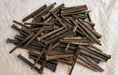 "REDUCED Primitive lot of 100 Square Head Nails 2 1/2"" Unused 2.5"" Vintage Patina"