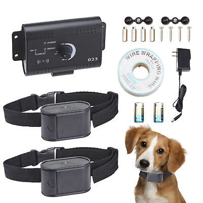 Electric Waterproof Dog Fence System 2 Shock Collars for two Dogs.