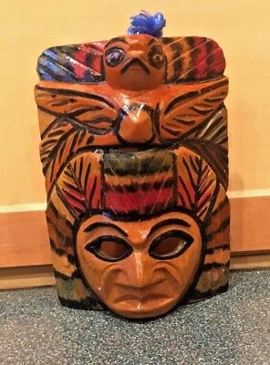 Mayan Aztec Phoenix Hand Carved Wood Wall MASK Mexican Folk Art Hand Painted
