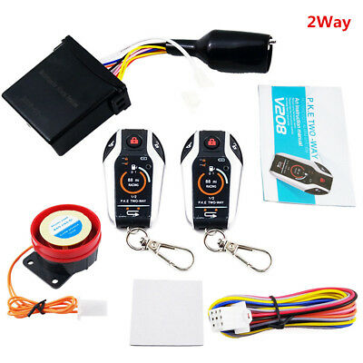Motorcycle Anti-theft Scooter Security Alarm System Remote Engine Keyless 2WAY