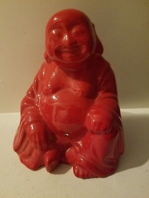 "Red Ceramic Porcelain  Laughing  Buddha  Statue Figurine 4 1/2""h"
