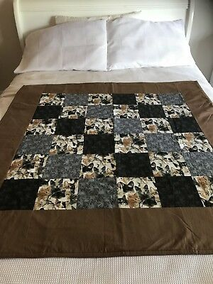 "Handmade patchwork quilt 'gorgeous cats' size 47"" x 47"""