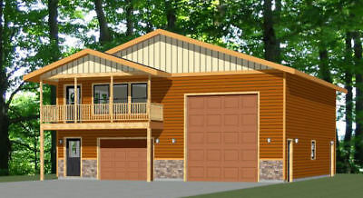 40x42 Apartment with 1-Car 1-RV Garage - PDF FloorPlan - 1,101 sqft - Model 4A