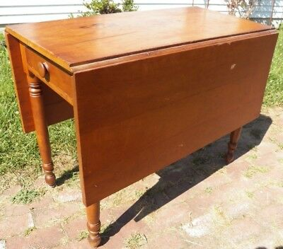 Antique Country Sheraton Dining Table Solid Cherry turned leg drop leaf w Drawer