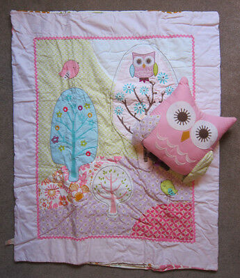 """Lolli Living cot quilt & owl cushion """"Poppy Seed"""""""