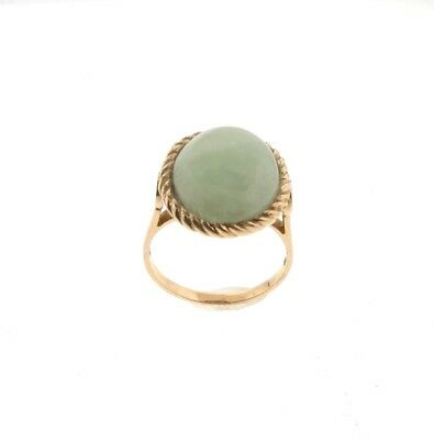 14k Gold Jadeite Jade Ring 4.5 grams Size 7.25