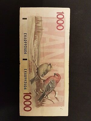 Canadian $1000 Dollar Bank Note Paper Bill EKA0993406 Circulated 1988 Canada