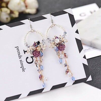Crystal Rhinestone Fringed Earrings Flower Tassel Ear Stud Long Dangle Drop