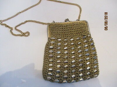 93604f1c6320 Vintage Antique Gold Mesh Beaded Chain Handle Evening Purse Made in Italy