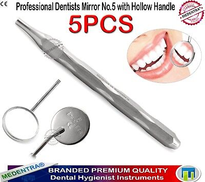 Dentist Mouth Mirror #5 Examination Reflector Hollow Handle Stainless Steel 5PCS