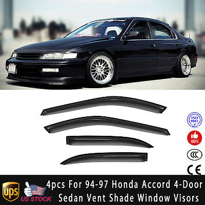 Topline For 1994-1997 Honda Accord Sedan Sun Rain Guard Vent Shade Window Visors