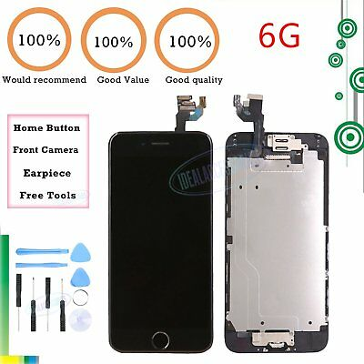 Assembly LCD Screen For iPhone 6 Touch Digitizer Black Home Button Camera Frame