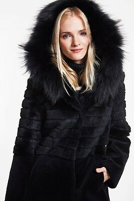 NWT!! Women's Blue Duck Black Rabbit, Lamb And Fox FUR Hooded Parka Coat Small