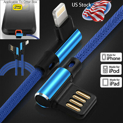 90 Degree Elbow Lightning Cable USB Charger iPhone 8 7 6s Plus XS Max XR Airpods