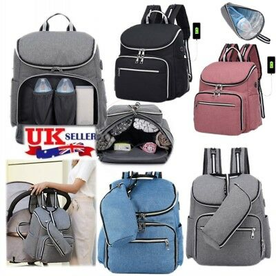 Maternity Bag Baby Nappy Diaper Changing Mummy Backpack Rucksack With USB Port A