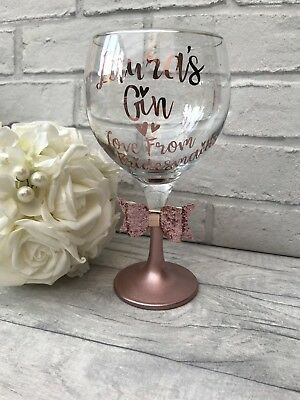 Personalised Gin Glass. Rose Gold. Christmas, Birthday, Wedding Hen Do. Balloon