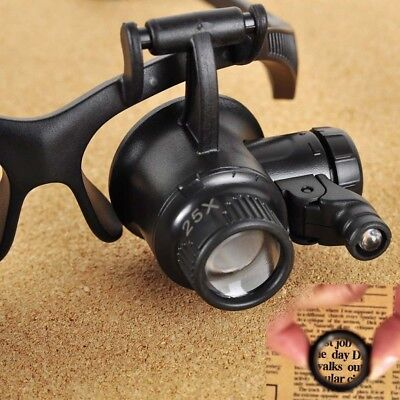 10X 15X 20X 25X LED Eye Jeweler Watch Repair Magnifying Glass Magnifier Loupe AT
