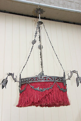 Rare French Antique Gothic devil dragons satyr heads chandelier castle