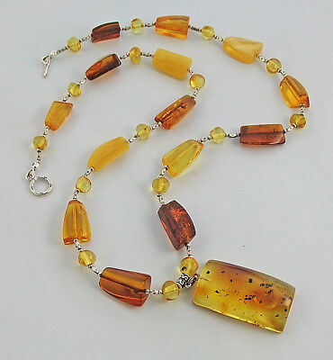 Pendant genuine Baltic amber necklace, Karen Hill silver