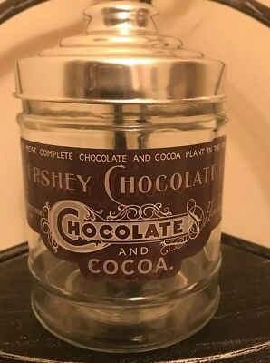 Vintage Hershey's Chocolate Glass Cookie/candy Canister Jar W Metal Lid