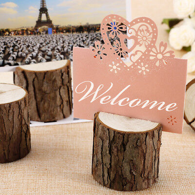100x Dark Brown Bark Wooden Place Photo Name Card Holder Stand Table Decoration