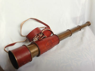 Vintage Telescope Brass Nautical Marine Maritime Antique Leather Spyglass Gift