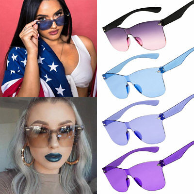 Fashion Oversized Square Sunglasses Without Frame Flat Lens Candy Color Ladies
