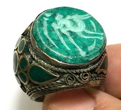 FANTASTIC MEDIEVAL SILVER RING WITH ANIMAL SEAL 21.7gr 29mm (inner 22mm)