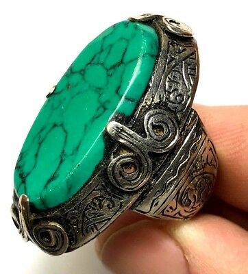 LATE MEDIEVAL SILVER RING WITH HUGE GREEN RARE STONE INTAGLIO 20.4gr 41mm