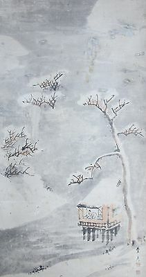 #1982 Japanese Vintage Hanging Scroll Kakejiku Winter Scene Snow Trees Wall Art