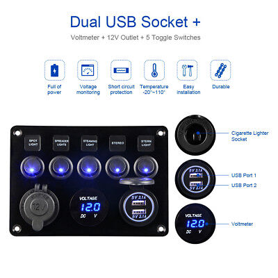ON-OFF 5 Gang Switch Panel DC12-24V Blue LED Volmeter Dual USB Charger MA1735