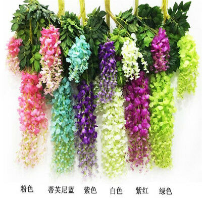 Artificial Hanging Wall Fake Silk Violet Orchid Flower Rattan Plant Basket Decor