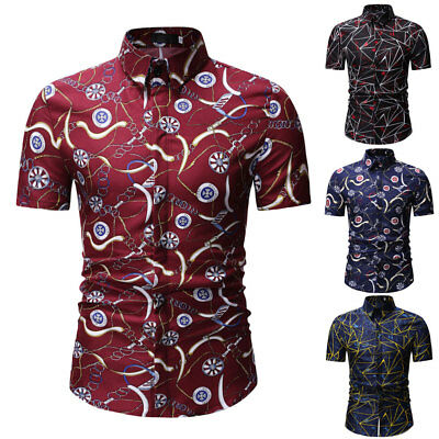 Luxury Mens Stylish Casual Dress Shirt Slim Fit T-Shirt Short Sleeve Formal Tops