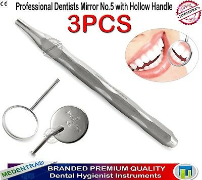 Pro Dentists Hollow Handle Mouth Mirror No.5 Diagnostic Examination Tools 3PCS