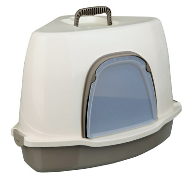 Large Enclosed Cat Kitten Corner Litter Tray Toilet Potty Loo Box Compact