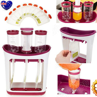 Baby Feeding Food Squeeze Station Toddler Infant Fruit Juice Maker Containers AU