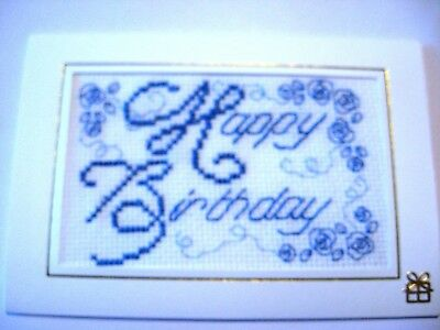 Birthday Card Completed Cross Stitch Happy Birthday 6x4""