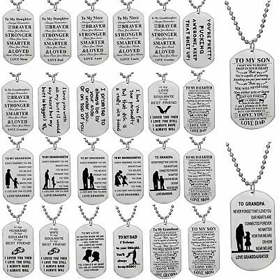 Family Son Daughter Couple Necklace Gift Stainless Steel Dog Tag Pendant Jewelry
