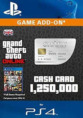 Grand Theft Auto Online:White Shark Cash $1,250,000 PS4 Code $1.25 Mil