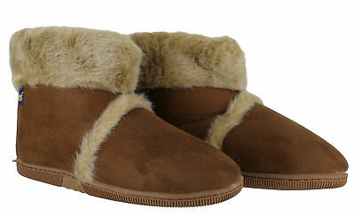 Coolers Mens Hard Sole Warm Lined Furry Slippers Ankle Boots