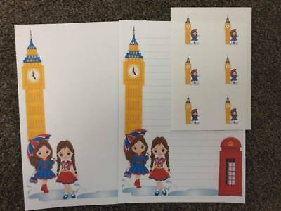 London Girls Stationery Big Ben 25 Sheet Letter Writing Paper & 6 Stickers Set