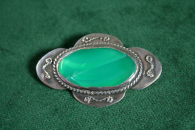 Useful Vintage Antique Arts & Crafts Celtic Pewter Brooch Blue Green Ruskin Cabochon High Quality Materials Antiques