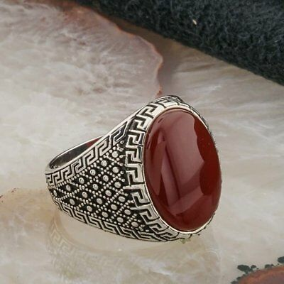 Handcraft Turkish 925 Sterling Silver Jewelry Agate Men's Ring