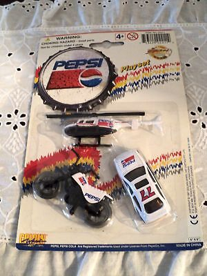 Pepsi Playset 1993 Diecast 3 toys, Race car, motorcycle, helicopter new in pkg