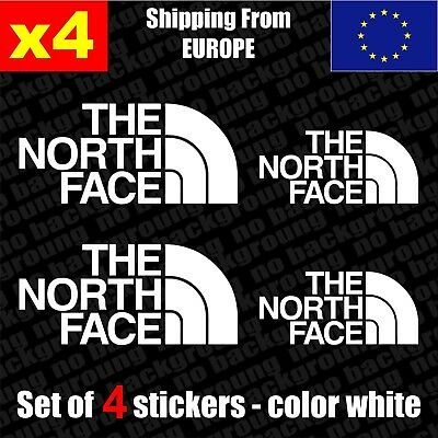 Set of 4 The North Face Logo Vinyl Sticker Decal Aufkleber Die-Cut autocollant