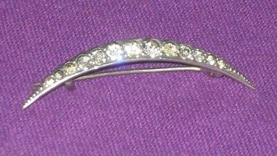 Edwardian 1904 Hallmarked Sterling Silver & Paste Stone Crescent Brooch Antique