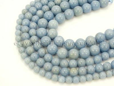 Natural Angelite Gemstone Round Beads 15.5'' Strand 4mm 6mm 8mm 10mm 12mm