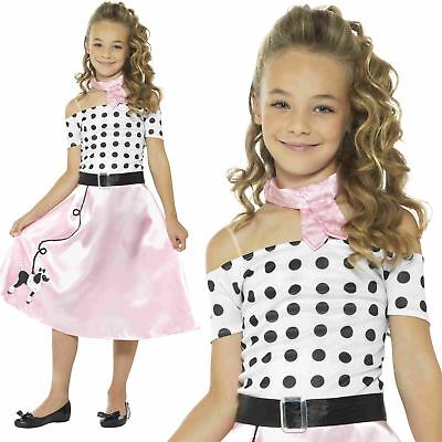 50s Poodle Girls Fancy Dress Rock and Roll 1950 60s Kids Children Costume Outfit