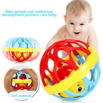 Cn_ Teether Rattle Toy Baby Intelligence Grasping Gums Hand Bell Birthday Gift